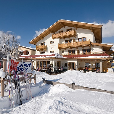 Hotelterrasse im Winter